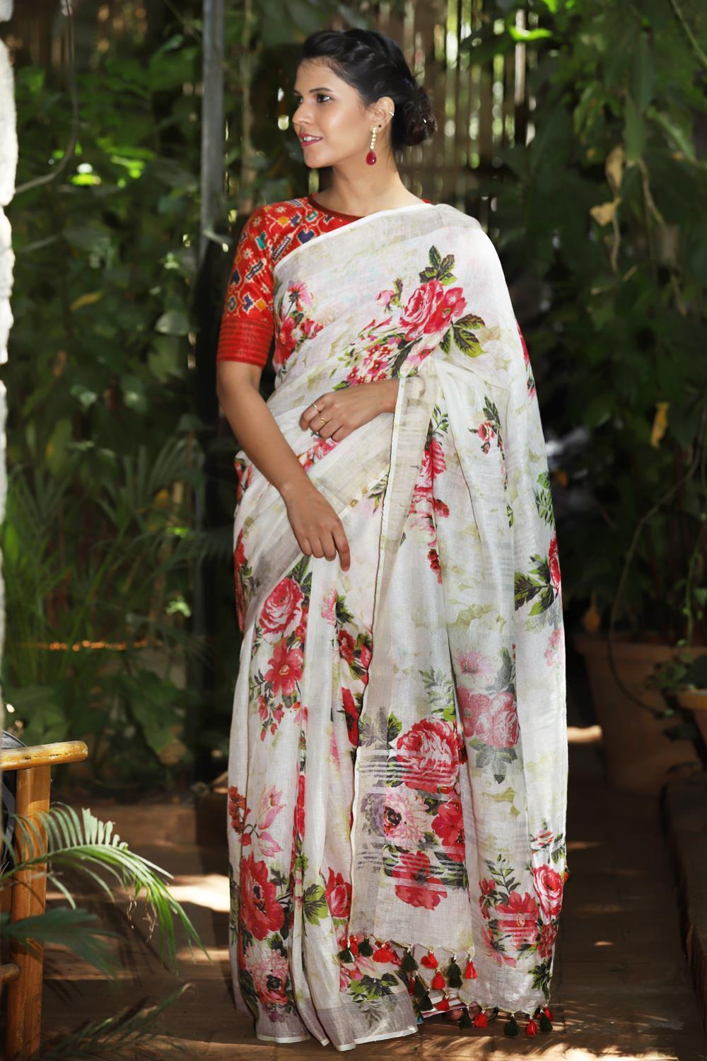 Partyware Off White Color  Linen Digital Printed Saree MS-1074