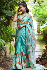 PartyWare Tiffany Blue Color Linen Digital Printed Saree MS-1070