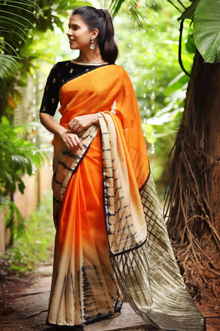 PartyWare Orange And Off White Color Linen Digital Printed Saree MS-1068