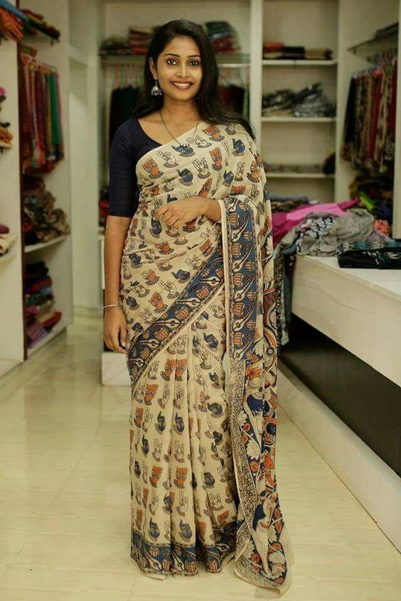 KalamKari Linen Digital Printed Saree MS-1209