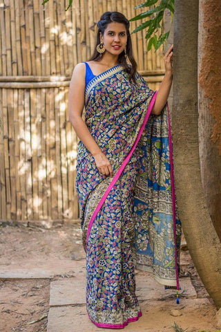 Awsome Multi Color Lenen Digital Printed Saree MS-1063