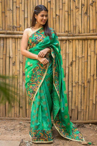 Beautiful Green Color Linen Digital Printed Saree MS-1052