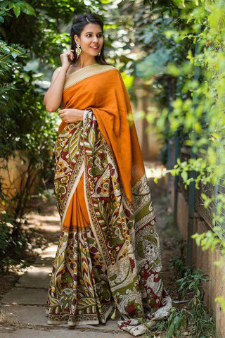 Trendy Yallow Color Linen Digital Printed Saree MS-1044