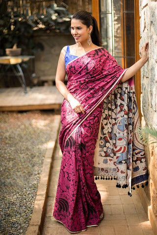 Delightful Light Red Color Linen Digital Printed Saree MS-1041