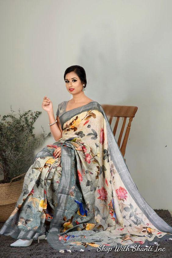 Linen Digital Printed Saree MS-11043
