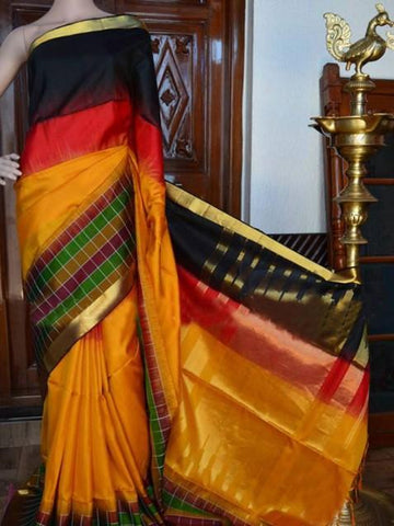Black Red Yellow Patta Colour Soft Silk Designer Saree UK1348