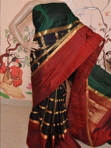 Black Red Green Patta Colour Soft Silk Designer Saree UK1349