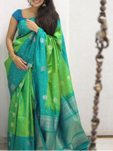 Light Green Colour Soft Silk Designer Saree UK1355
