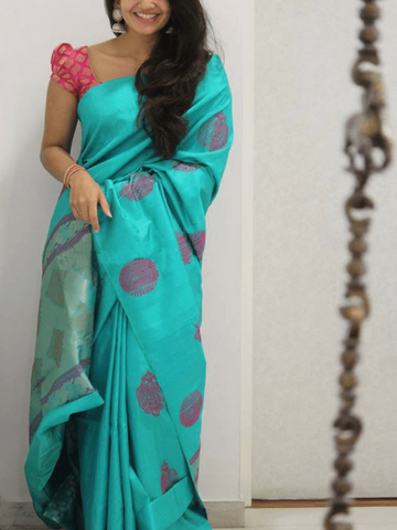 Beautiful Colour Soft Silk Designer Saree UK1373