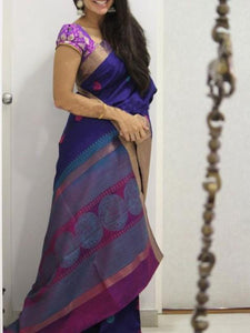 Blue Colour Soft Silk Designer Saree UK1401