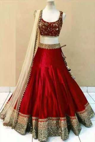 Embroidered Semi-stitched Party Wear Lehenga Choli- Beauty Red