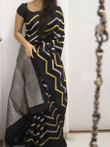 Black  Soft Silk Designer Saree UK1865