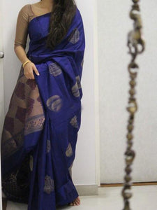 Blue Soft Silk Designer Saree UK1867
