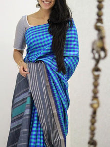 Beautiful Blue Soft Silk Designer Saree UK1876
