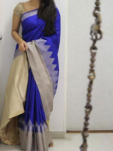 Awosome Blue Soft Silk Designer Saree UK1878