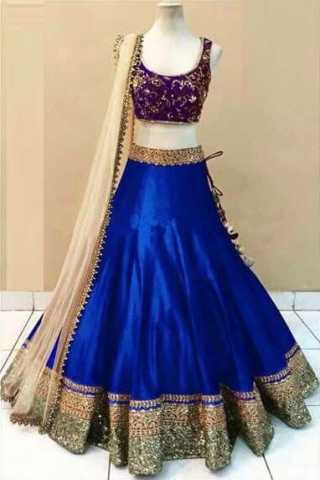 Embroidered Semi-stitched Party Wear Lehenga Choli- Beauty Blue