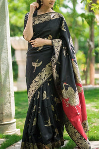 Black Colour Soft Silk Designer Saree UK30023