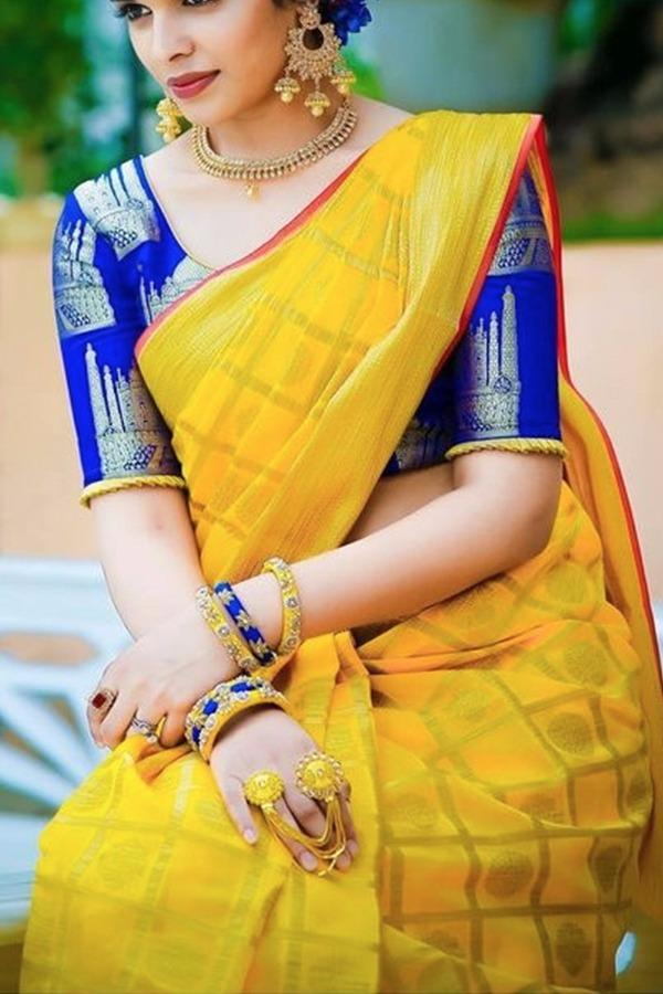 Yellow Colour Soft Silk Designer Saree UK30026