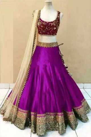 Embroidered Semi-stitched Party Wear Lehenga Choli- Beauty Dark Pink