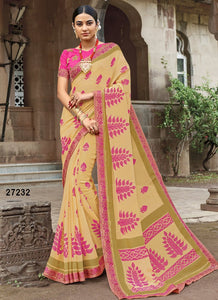 Cream Colour Soft Silk Designer Saree UK30045