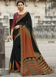 Black Colour Soft Silk Designer Saree UK30049