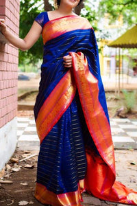 Blue Colour Soft Silk Designer Saree UK30075