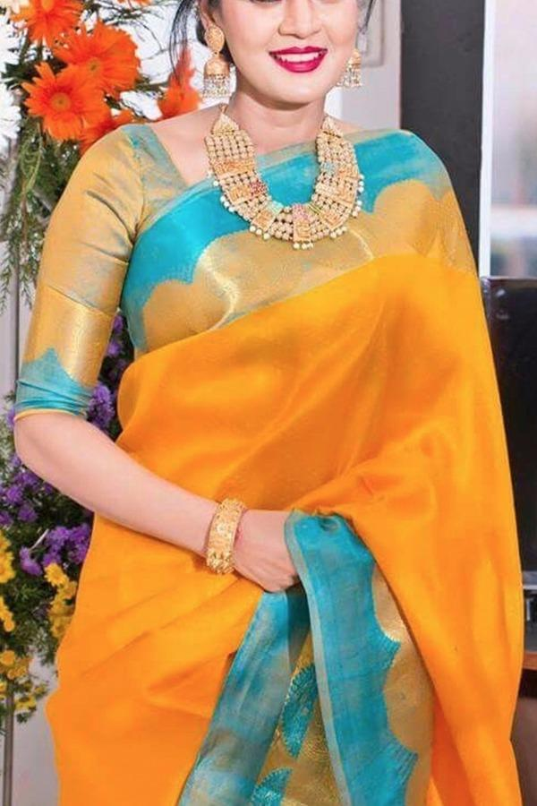 Yellow Colour Soft Silk Designer Saree UK30088
