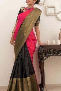 Pink Black Colour Soft Silk Designer Saree UK30090