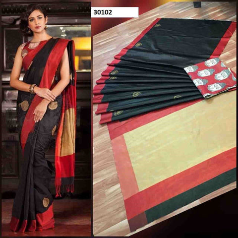Black Red Colour Soft Silk Designer Saree UK30102