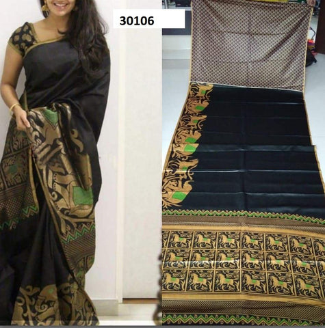 Black Colour Soft Silk Designer Saree UK30106