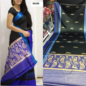Blue Black Colour Soft Silk Designer Saree UK30108