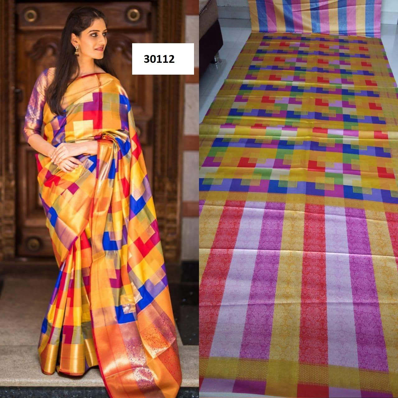 Beautiful Colour Soft Silk Designer Saree UK30112
