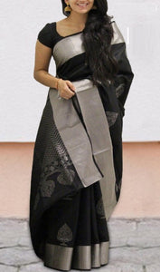 Black Colour Soft Silk Designer Saree UK30150