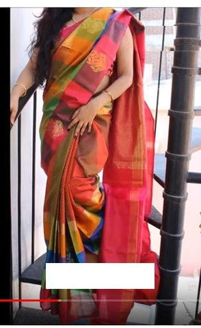 Cheked Colour Soft Silk Designer Saree UK30161