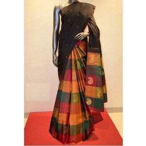 Blacked Colour Soft Silk Designer Saree UK30165