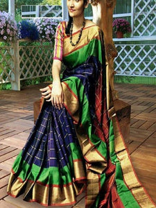Blue Colour Soft Silk Designer Saree UK30195