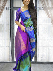 Blue Colour Soft Silk Designer Saree UK30202