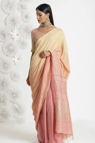 Cream Baby Pink Colour Soft Silk Designer Saree UK30226