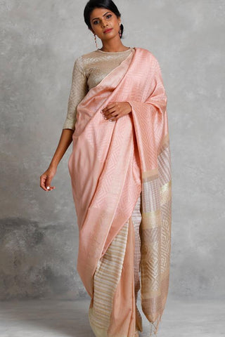 Baby Pink Colour Soft Silk Designer Saree UK30230