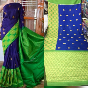 Blue Green Colour Soft Silk Designer Saree UK30251