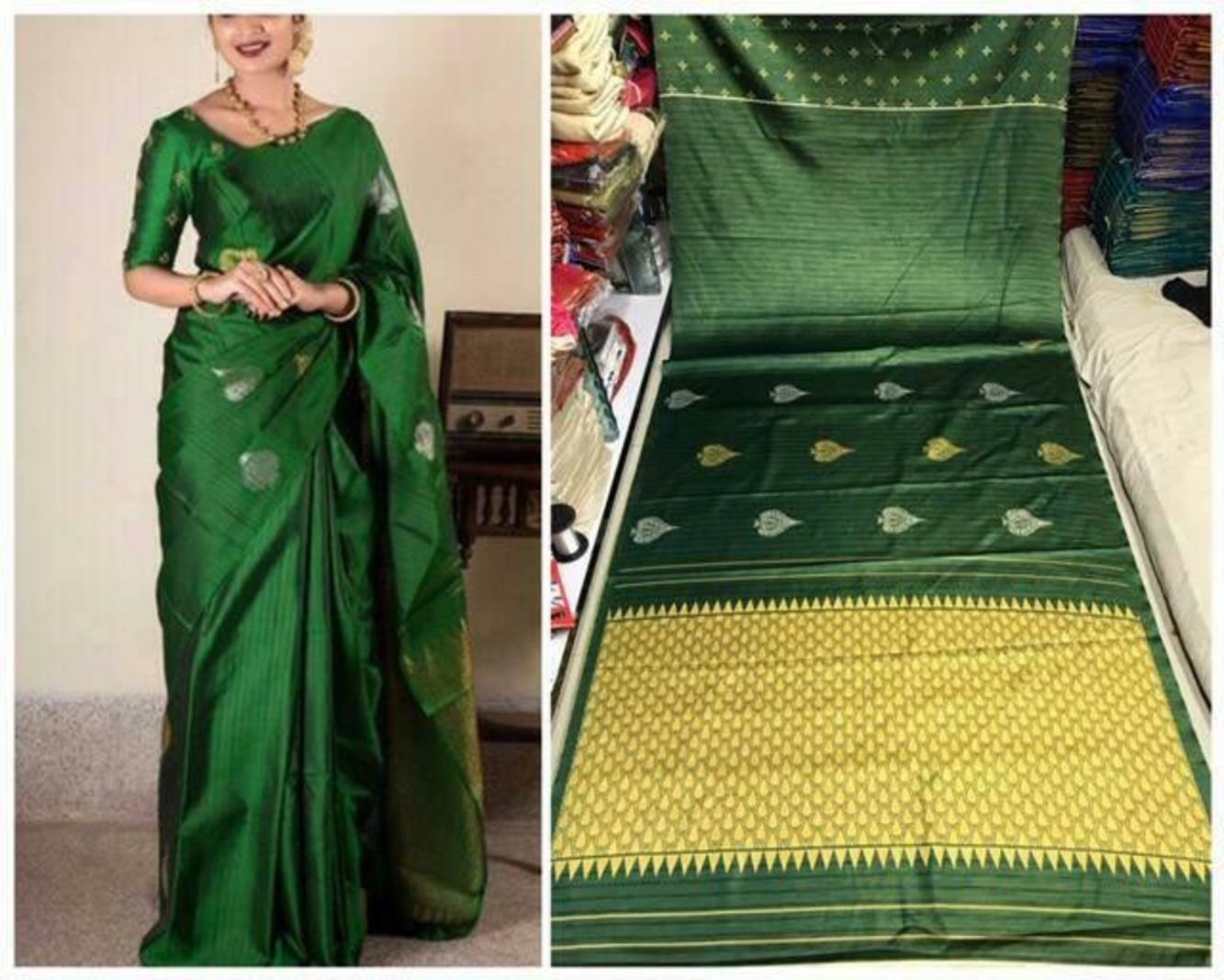 Green  Colour Soft Silk Designer Saree UK30258