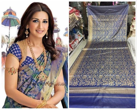 Blue Colour Soft Silk Designer Saree UK30261