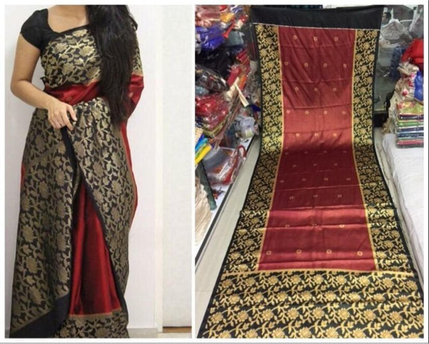 Red Black Colour Soft Silk Designer Saree UK30263