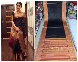 Blacked Colour Soft Silk Designer Saree UK30266