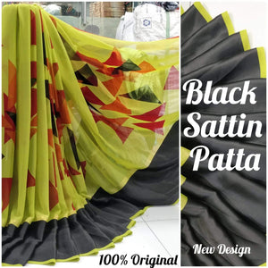 Sattin Patta Hot Colour Designer Saree 5039