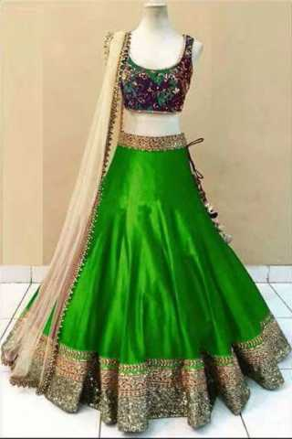 Embroidered Semi-stitched Party Wear Lehenga Choli- Beauty Green