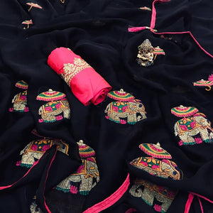 Embroidered Chiffon Saree MDS-01-Black