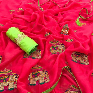 Embroidered Chiffon Saree MDS-01-Pink