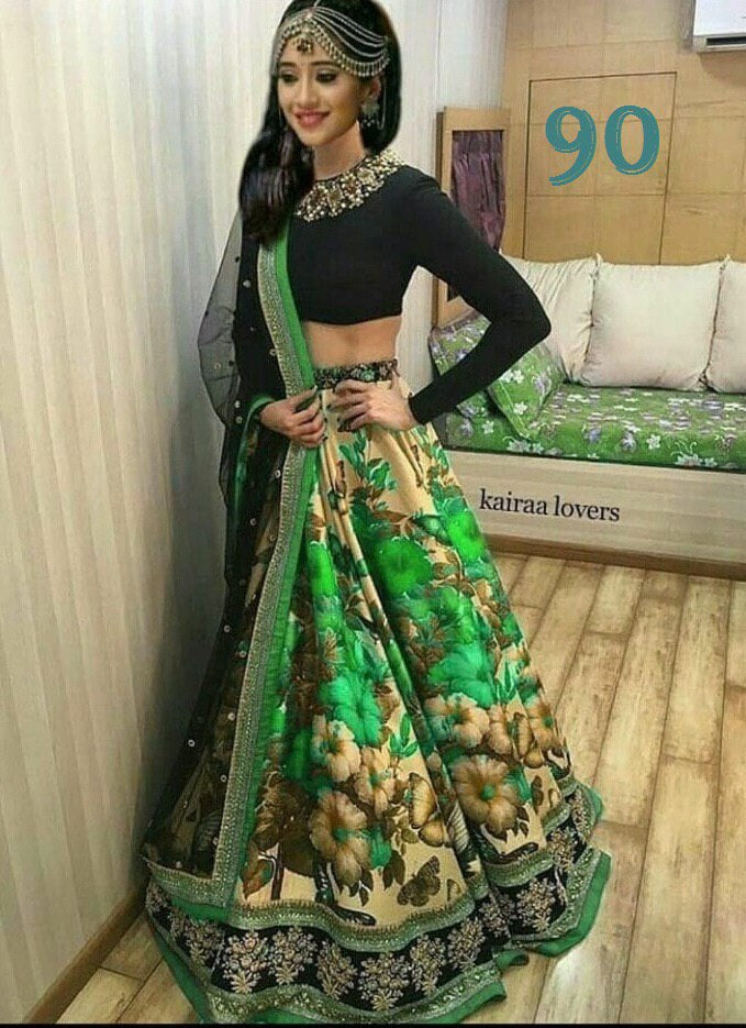 Out Standing Green Color Embroidered Semi-stitched Lehenga Choli