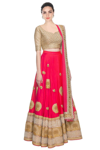 Pink Color Embroidered Semi-stitched Designer Lehenga Choli